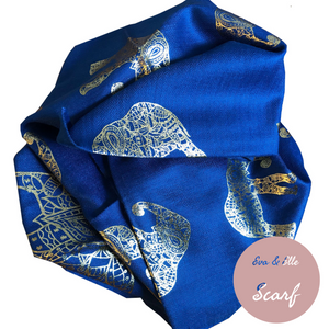 Scarf In Elephant Design Print in Blue