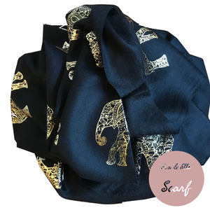 Scarf In Elephant Design Print in Black