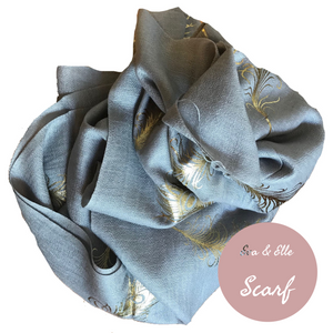 Scarf In Feather Design Print in Grey