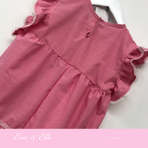 Little Gingham dress with butterfly sleeves for 3 -6 years
