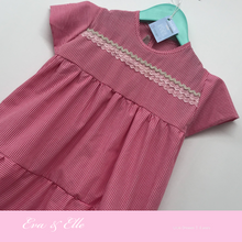 Load image into Gallery viewer, Little Gingham dress with cup sleeves for 3 -6 years