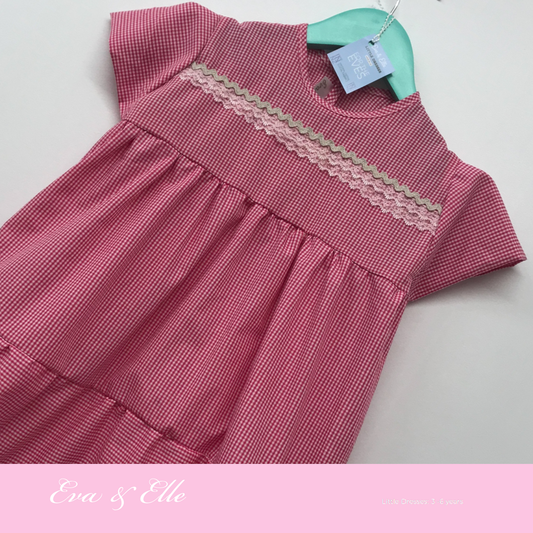 Little Gingham dress with cup sleeves for 3 -6 years
