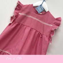 Load image into Gallery viewer, Little Gingham dress with butterfly sleeves for 3 -6 years
