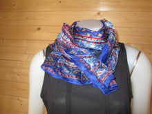 Load image into Gallery viewer, Blue Design Print Silk Scarf