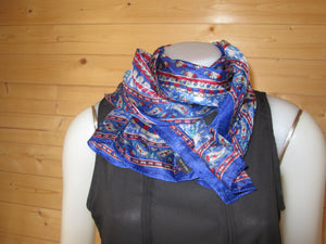 Grey Design Print Silk Scarf