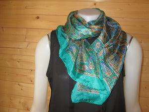 Green Design Print Silk Scarf