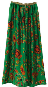 Floral Elastic Pants in grassy green