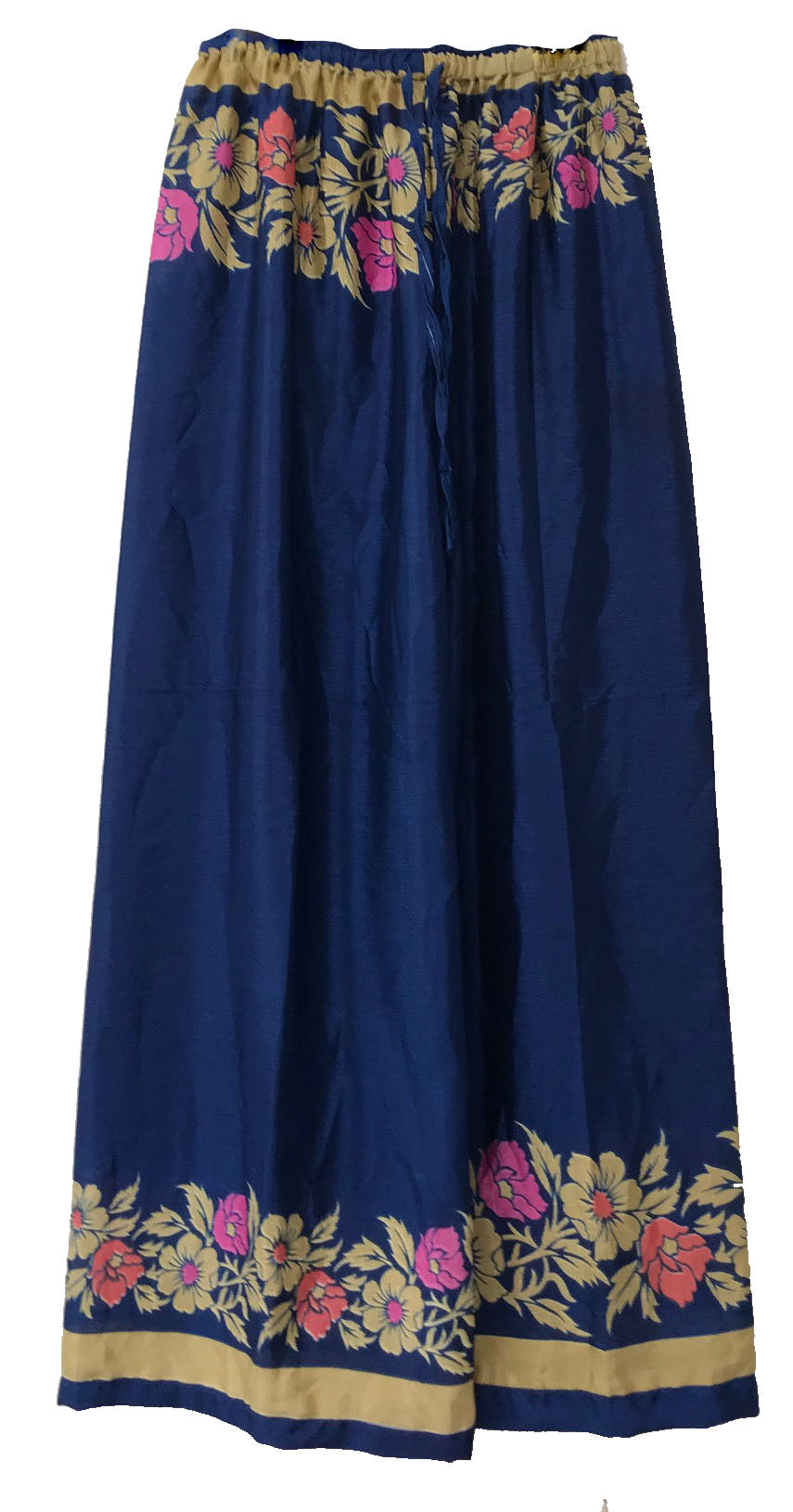 Floral Elastic Pants in royal blue