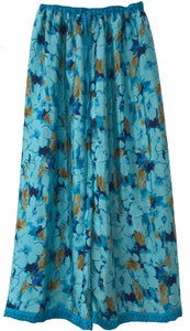 Floral Elastic Pants in sky blue