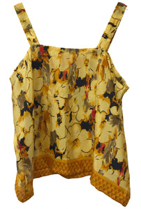 Strap Top in Yellow design print