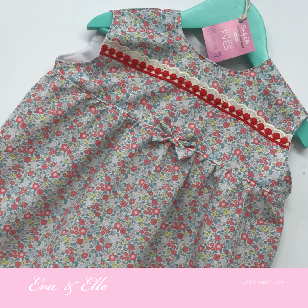 Little Dresses  in red trims - 12mths to 24 mths