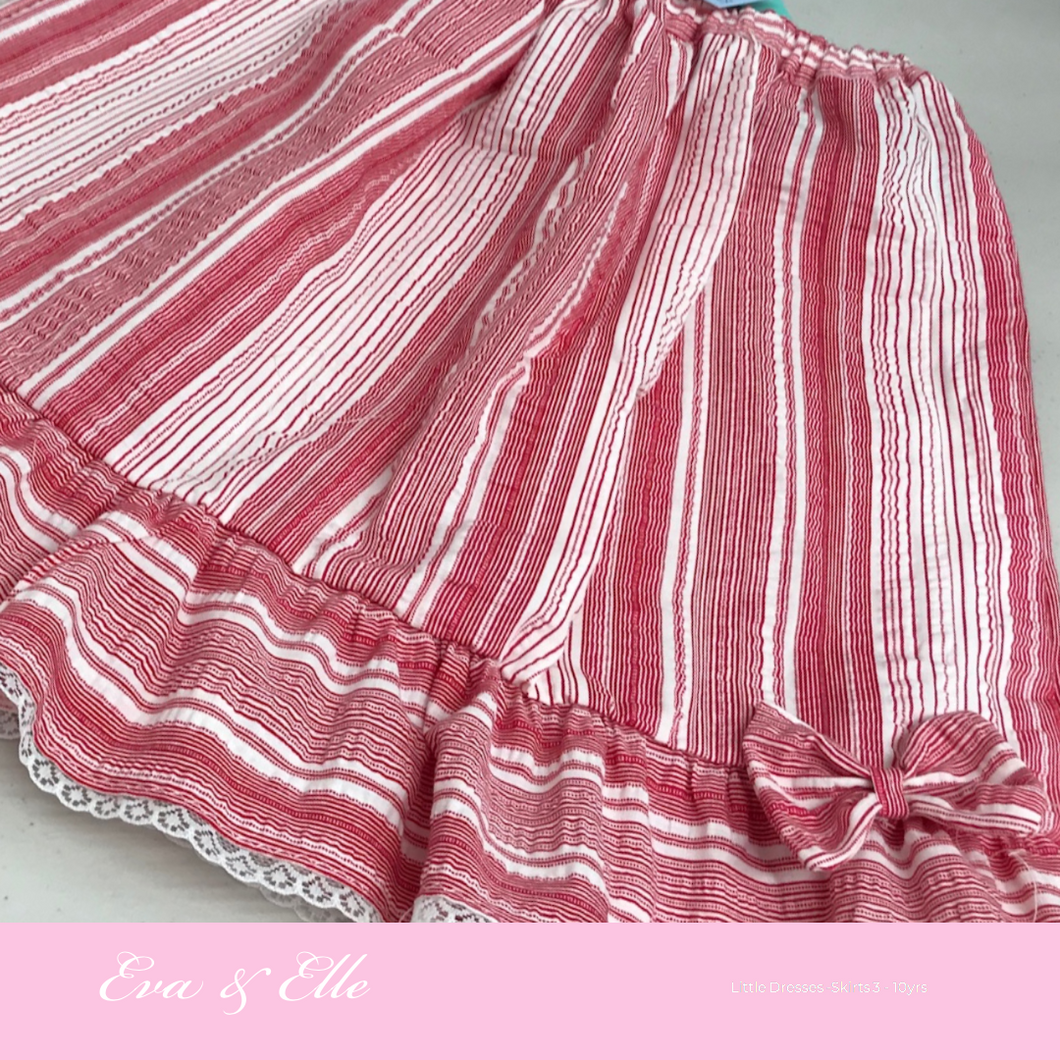 Little Skirt in Cherry Stripes print for 6 - 8years