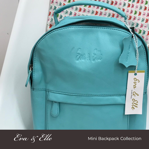 Sky Blue - Leather Mini Backpack