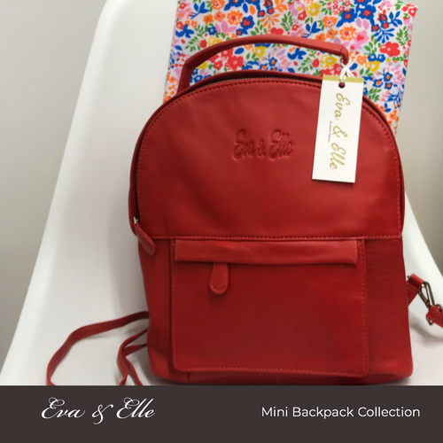 Cherry Red - Leather Mini Backpack