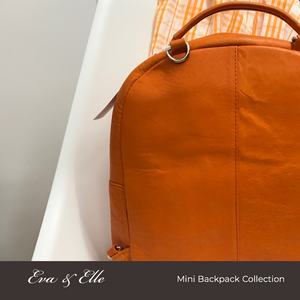 Mandarin Orange - Leather Mini Backpack