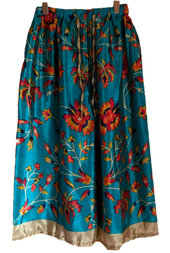 Floral Elastic Pants in Bluish Green colour
