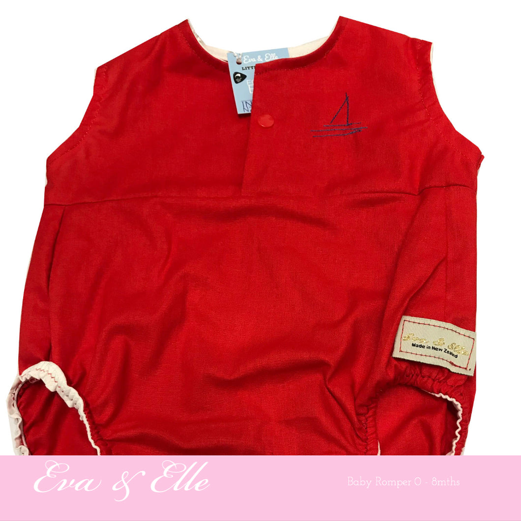 Baby Rompers in Red - NZ Made