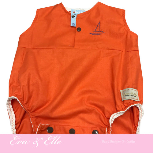 Baby Rompers in Orange - NZ Made