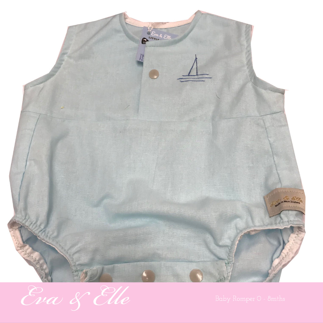 Baby Rompers in Aqua - NZ Made