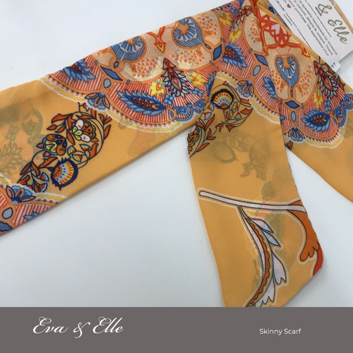 Floral Print Skinny Scarf in pastel orange