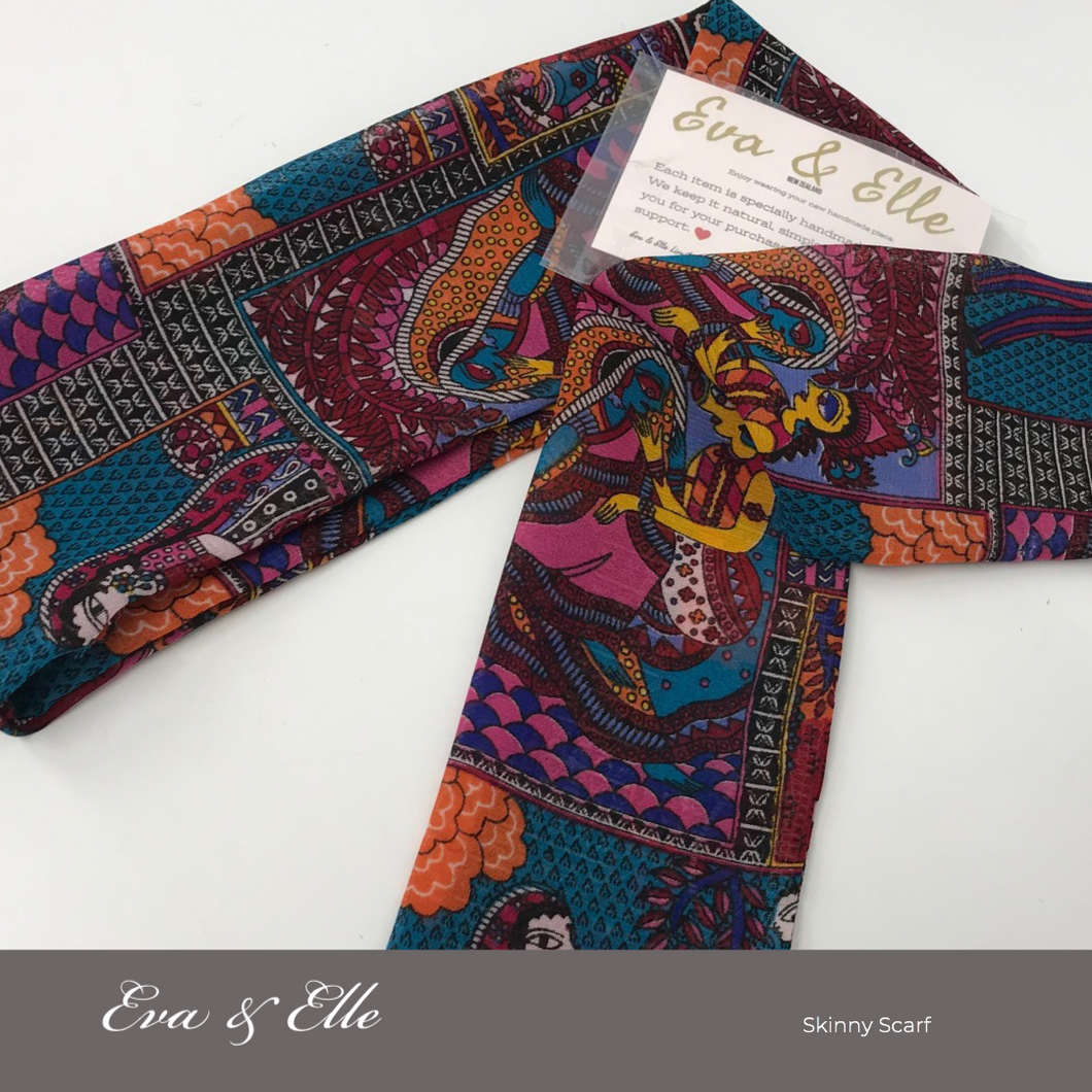 Classical Print Skinny Scarf in Multicolour