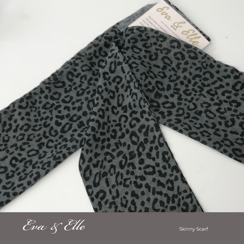 Animal Print Skinny Scarf n Grey
