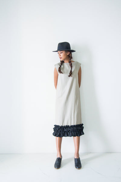 Boat Neck Frill Hem Dress