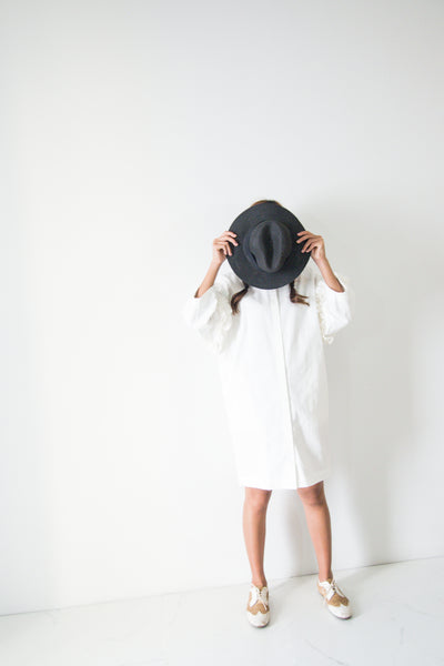 Knee Length Shirt Dress With Ruffle
