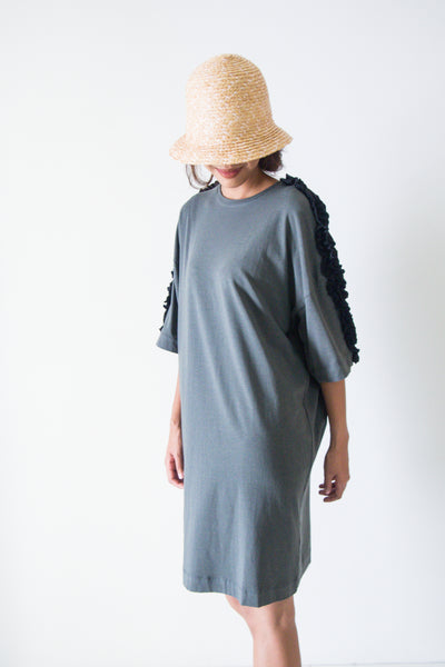Bamboo Midi Tee Dress With Ruffle