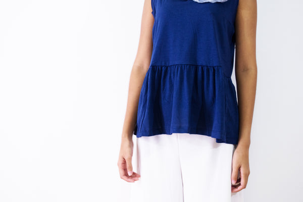 V Neck Frill Hem Top