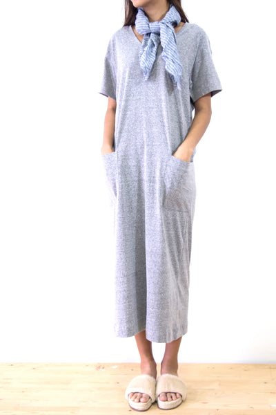 Dress U Neck Straight Maxi with 2 Pockets