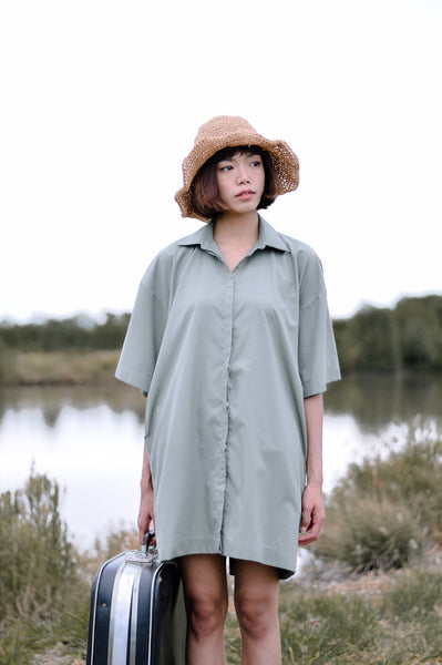 Boxy Shirt Dress Short Sleeve