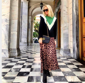 ANNA MAVRIDIS WEARING OUR PLEATED LEOPARD SKIRT