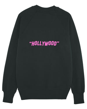 "MENS RELAXED FIT SWEATSHIRT ""GOOD LUCK"" - BLACK / PINK"
