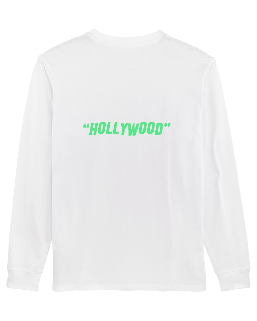 """GOOD LUCK"" LONG SLEEVE T-SHIRT - WHITE + GREEN"