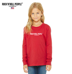 KIDS LONG SLEEVE T-SHIRT, RED + WHITE