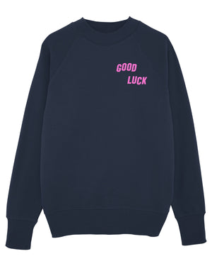 """GOOD LUCK"" - MENS SWEATSHIRT - NAVY / PINK"