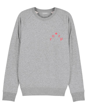 "MENS ""PARIS"" GRAY W. BRIGHT RED PRINT"