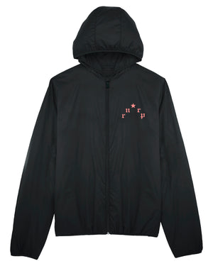 "UNISEX PADDED HOODIE JACKET ""PARIS"" - BLACK W. SALMON PRINT"