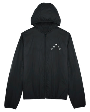 "UNISEX PADDED HOODIE JACKET ""PARIS"" - BLACK W. WHITE PRINT"