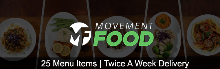 movement food has 25 menu items and offers twice a week home delivery