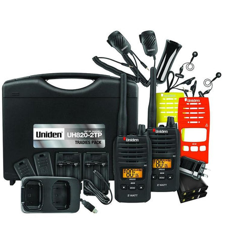 Uniden UH820S-2TP 80 Channels 2 Watt UHF Handheld Tradies Pack (Twin Pack)