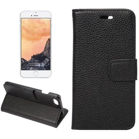 iPhone 7/8 Horizontal Flip Leather Case With Card Slots - Black