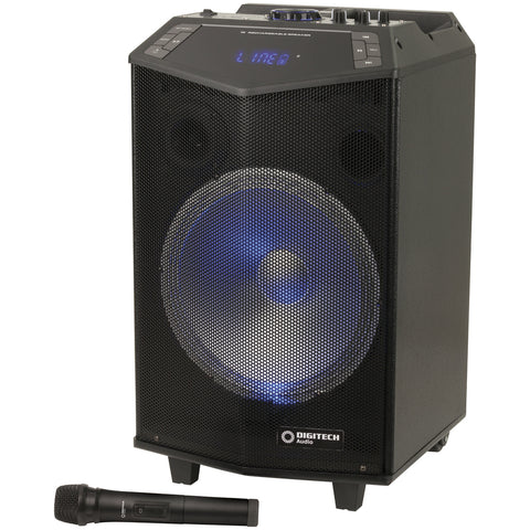 "PA/ Party Speaker with W/less Mic 12"" Rechargeable"
