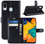 Samsung A20/A30 Horizontal Flip Case With Card Slots - Black