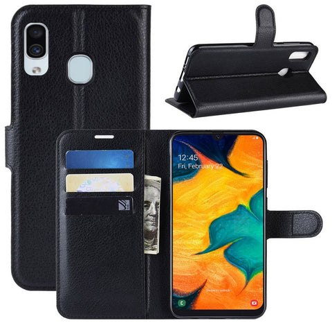 Samsung A20/A30 Litchi Horizontal Flip Leather Case With Card Slots - Black