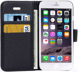 iPhone 6/6S Litchi Horizontal Flip Leather Case With Card Slots - Black