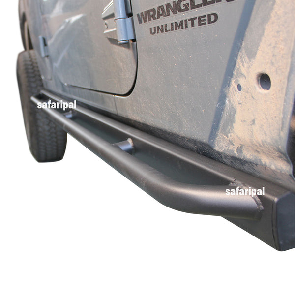 Safaripal Textured Side Step Bars for 2007-2016 Jeep Wrangler Unlimited JK 4 door Black