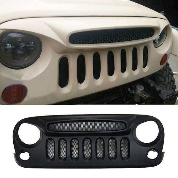 Safaripal Jeep Front Grille Grill Ghost Grille w/ Build-in Mesh for Jeep Wrangler Rubicon Sahara Sport Jk 2007-2016 Matte Black