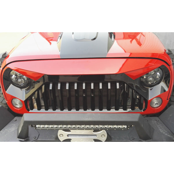 Safaripal 2007 - 2017 Jeep Wrangler Gladiator Angry Front Grille Grill for 2007 - 2017 Jeep Wrangler Rubicon Sahara Sports Jk Black